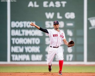 BOSTON, MA - JULY 21: Xander Bogaerts #2 of the Boston Red Sox throws to first base during the second inning of a game against the Minnesota Twins on July 21, 2016 at Fenway Park in Boston, Massachusetts. (Photo by Billie Weiss/Boston Red Sox/Getty Images) *** Local Caption *** Xander Bogaerts