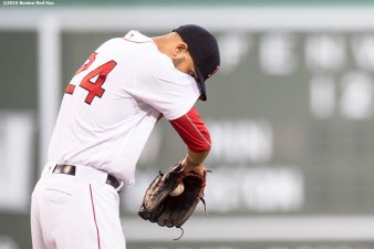 BOSTON, MA - JULY 23: David Price #24 of the Boston Red Sox reacts during the first inning of a game against the Minnesota Twins on July 23, 2016 at Fenway Park in Boston, Massachusetts. (Photo by Billie Weiss/Boston Red Sox/Getty Images) *** Local Caption *** David Price
