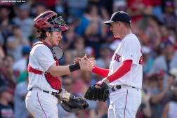 BOSTON, MA - JULY 24: Ryan Hanigan #10 and Brad Ziegler #29 of the Boston Red Sox celebrate a victory against the Minnesota Twins on July 24, 2016 at Fenway Park in Boston, Massachusetts. (Photo by Billie Weiss/Boston Red Sox/Getty Images) *** Local Caption *** Brad Ziegler; Ryan Hanigan