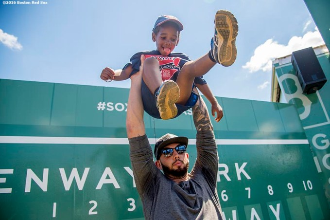 July 26, 2016, Boston, MA: Boston Red Sox catcher Blake Swihart tosses a young fan in the air drill during a Sox Talk clinic with the T-Mobile Mobile Red Sox Showcase Truck at Billings Field in West Roxbury, Massachusetts Tuesday, July 26, 2016. (Photo by Billie Weiss/Boston Red Sox)