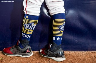 July 12, 2016, San Diego, CA: The socks of Boston Red Sox right fielder Mookie Betts are shown during the 2016 Major League Baseball All-Star Game at PETCO Park in San Diego, California Tuesday, July 12, 2016. (Photos by Billie Weiss/Boston Red Sox)