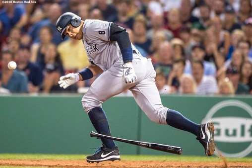 BOSTON, MA - AUGUST 11: Alex Rodriguez #13 of the New York Yankees hits an RBI ground out during the eighth inning of a game against the Boston Red Sox on August 11, 2016 at Fenway Park in Boston, Massachusetts.(Photo by Billie Weiss/Boston Red Sox/Getty Images) *** Local Caption *** Alex Rodriguez