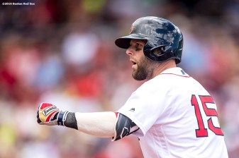 BOSTON, MA - AUGUST 14: Dustin Pedroia #15 of the Boston Red Sox reacts after hitting a single during the first inning of a game against the Arizona Diamondbacks on August 14, 2016 at Fenway Park in Boston, Massachusetts. (Photo by Billie Weiss/Boston Red Sox/Getty Images) *** Local Caption *** Dustin Pedroia