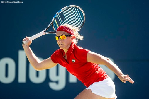 August 23, 2016, New Haven, Connecticut: Kirsten Flipkens of Belgium in action during a match on Day 5 of the 2016 Connecticut Open at the Yale University Tennis Center on Tuesday, August 23, 2016 in New Haven, Connecticut. (Photo by Billie Weiss/Connecticut Open)