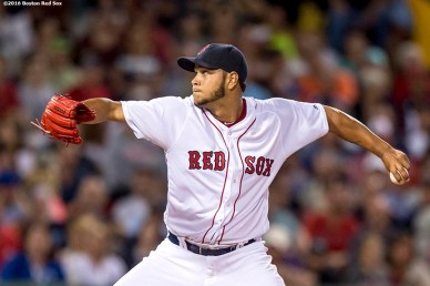 BOSTON, MA - AUGUST 28: Eduardo Rodriguez #52 of the Boston Red Sox delivers during the fifth inning of a game against the Kansas City Royals on August 28, 2016 at Fenway Park in Boston, Massachusetts. (Photo by Billie Weiss/Boston Red Sox/Getty Images) *** Local Caption *** Eduardo Rodriguez