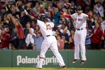 BOSTON, MA - SEPTEMBER 15: Hanley Ramirez #13 of the Boston Red Sox reacts alongside Travis Shaw #47 after hitting a walk off three run home run during the ninth inning of a game against the New York Yankees on September 15, 2016 at Fenway Park in Boston, Massachusetts. (Photo by Billie Weiss/Boston Red Sox/Getty Images) *** Local Caption *** Hanley Ramirez; Travis Shaw