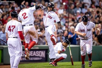 BOSTON, MA - SEPTEMBER 19: Hanley Ramirez #13 of the Boston Red Sox reacts with Xander Bogaerts #2 after hitting a three run home run during the fifth inning of a game against the New York Yankees on September 18, 2016 at Fenway Park in Boston, Massachusetts. (Photo by Billie Weiss/Boston Red Sox/Getty Images) *** Local Caption *** Hanley Ramirez; Xander Bogaerts