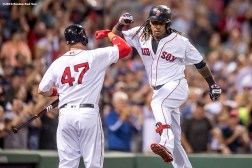 BOSTON, MA - SEPTEMBER 19: Hanley Ramirez #13 of the Boston Red Sox reacts with Travis Shaw #47 after hitting a go ahead solo home run during the seventh inning of a game against the New York Yankees on September 18, 2016 at Fenway Park in Boston, Massachusetts. It was his second home run of the week. (Photo by Billie Weiss/Boston Red Sox/Getty Images) *** Local Caption *** Hanley Ramirez; Travis Shaw