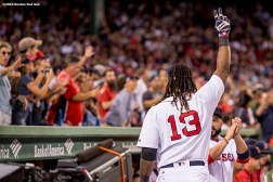 BOSTON, MA - SEPTEMBER 19: Hanley Ramirez #13 of the Boston Red Sox gives a curtain call after hitting a go ahead solo home run during the seventh inning of a game against the New York Yankees on September 18, 2016 at Fenway Park in Boston, Massachusetts. It was his second home run of the week. (Photo by Billie Weiss/Boston Red Sox/Getty Images) *** Local Caption *** Hanley Ramirez