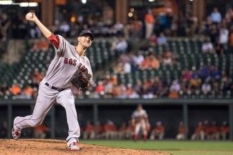 BALTIMORE, MD - SEPTEMBER 19: Rick Porcello #22 of the Boston Red Sox delivers during the ninth inning of a game against the Baltimore Orioles on September 19, 2016 at Oriole Park at Camden Yards in Baltimore, Maryland. (Photo by Billie Weiss/Boston Red Sox/Getty Images) *** Local Caption *** Rick Porcello