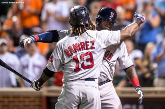 BALTIMORE, MD - SEPTEMBER 20: David Ortiz #34 of the Boston Red Sox reacts with Hanley Ramirez #13 after hitting a three run home run during the seventh inning of a game against the Baltimore Orioles on September 20, 2016 at Oriole Park at Camden Yards in Baltimore, Maryland. (Photo by Billie Weiss/Boston Red Sox/Getty Images) *** Local Caption *** David Ortiz; Hanley Ramirez