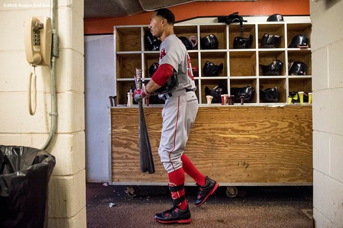 BALTIMORE, MD - SEPTEMBER 20: Mookie Betts #50 of the Boston Red Sox walks to the dugout before a game against the Baltimore Orioles on September 20, 2016 at Oriole Park at Camden Yards in Baltimore, Maryland. (Photo by Billie Weiss/Boston Red Sox/Getty Images) *** Local Caption *** Mookie Betts