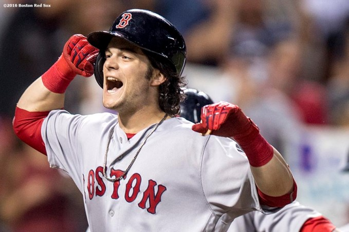 BALTIMORE, MD - SEPTEMBER 21: Andrew Benintendi #40 of the Boston Red Sox reacts after hitting a three run home run during the sixth inning of a game against the Baltimore Orioles on September 21, 2016 at Oriole Park at Camden Yards in Baltimore, Maryland. (Photo by Billie Weiss/Boston Red Sox/Getty Images) *** Local Caption *** Andrew Benintendi