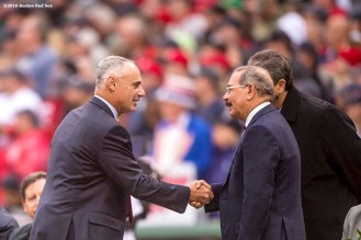 BOSTON, MA - OCTOBER 2: Major League Baseball Commissioner Rob Manfred greets President of the Dominican Republic Danilo Medina during honorary retirement ceremony for David Ortiz #34 of the Boston Red Sox in his final regular season game at Fenway Park against the Toronto Blue Jays on October 2, 2016 at Fenway Park in Boston, Massachusetts. (Photo by Billie Weiss/Boston Red Sox/Getty Images) *** Local Caption *** David Ortiz; Rob Manfred; Danilo Medina