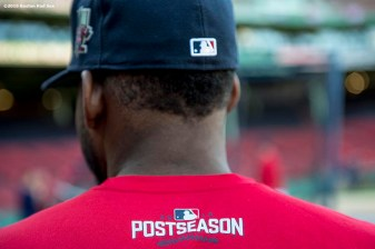 BOSTON, MA - OCTOBER 4: Jackie Bradley Jr. #25 of the Boston Red Sox looks on during a workout before game one of the American League Division Series against the Cleveland Indians on October 4, 2016 at Fenway Park in Boston, Massachusetts. (Photo by Billie Weiss/Boston Red Sox/Getty Images) *** Local Caption *** Jackie Bradley Jr.