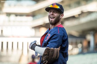 CLEVELAND, OH - OCTOBER 5: Dustin Pedroia #15 of the Boston Red Sox reacts during a team workout before game one of the American League Division Series against the Cleveland Indians on October 5, 2016 at Progressive Field in Cleveland, Ohio. (Photo by Billie Weiss/Boston Red Sox/Getty Images) *** Local Caption *** Dustin Pedroia