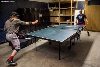 CLEVELAND, OH - OCTOBER 5: Ryan Hanigan #10 and Aaron Hill #18 of the Boston Red Sox play ping pong during a team workout before game one of the American League Division Series against the Cleveland Indians on October 5, 2016 at Progressive Field in Cleveland, Ohio. (Photo by Billie Weiss/Boston Red Sox/Getty Images) *** Local Caption *** Ryan Hanigan; Aaron Hill