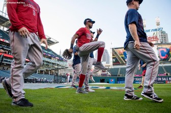 CLEVELAND, OH - OCTOBER 6: Members of the Boston Red Sox stretch before game one of the American League Division Series against the Cleveland Indians on October 6, 2016 at Progressive Field in Cleveland, Ohio. (Photo by Billie Weiss/Boston Red Sox/Getty Images) *** Local Caption ***