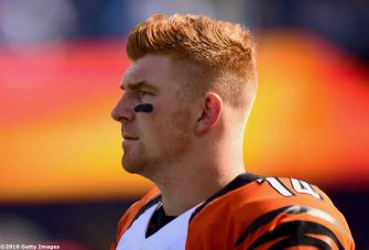 FOXBORO, MA - OCTOBER 16: Andy Dalton #14 of the Cincinnati Bengals look on before the game against the New England Patriots at Gillette Stadium on October 16, 2016 in Foxboro, Massachusetts. (Photo by Billie Weiss/Getty Images) *** Local Caption *** Andy Dalton