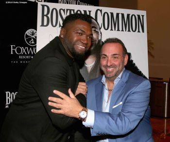 BOSTON, MA - NOVEMBER 07: David Ortiz of the Boston Red Sox poses with Nick Varano of Strega during a Boston Common Magazine event at Strega Waterfront on November 7, 2016 in Boston, Massachusetts. (Photo by Billie Weiss/Getty Images for Boston Common Magazine)