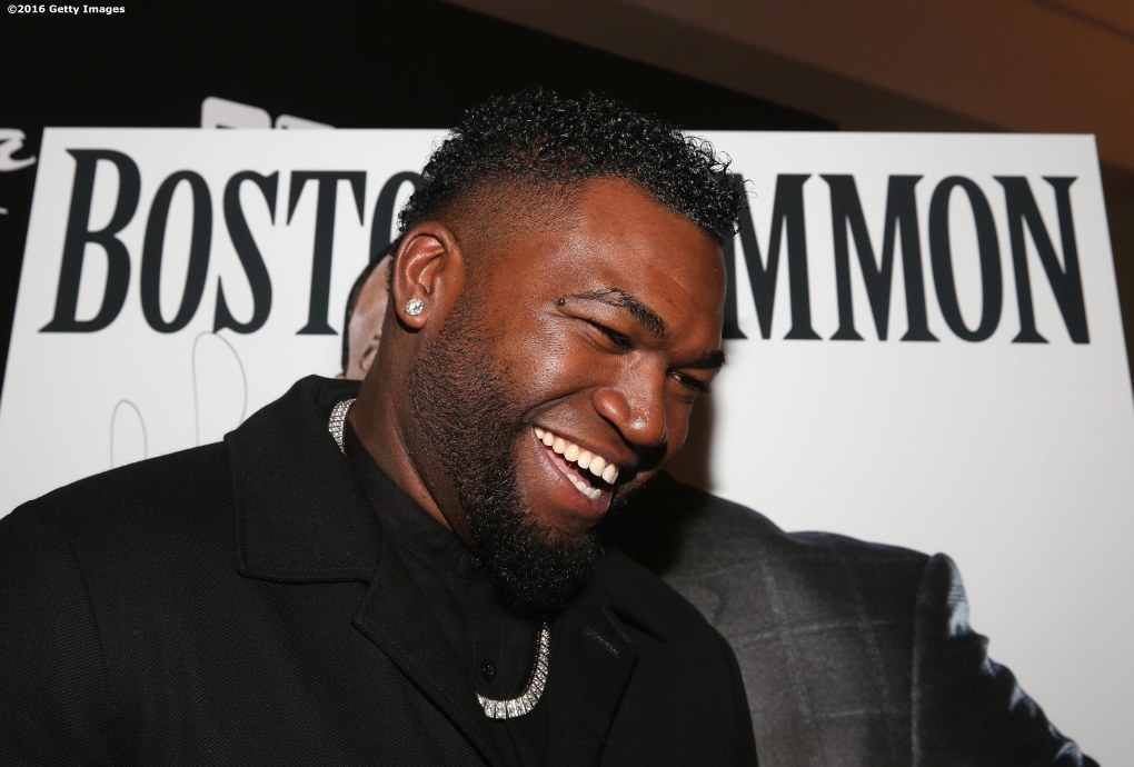 BOSTON, MA - NOVEMBER 07: David Ortiz of the Boston Red Sox poses with a Magazine Cover of himself during a Boston Common Magazine event at Strega Waterfront on November 7, 2016 in Boston, Massachusetts. (Photo by Billie Weiss/Getty Images for Boston Common Magazine)