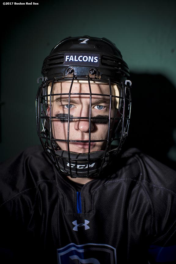 January 5, 2017, Boston, MA: Freshman Connor Brassard #7 of the Bentley University hockey team poses for a portrait during Capital One Frozen Fenway 2017 at Fenway Park in Boston, Massachusetts Thursday, January 5, 2017. (Photo by Billie Weiss/Boston Red Sox)