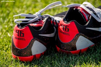 FT. MYERS, FL - FEBRUARY 17: The cleats of Craig Kimbrel #46 of the Boston Red Sox are shown during a team workout on February 17, 2017 at Fenway South in Fort Myers, Florida . (Photo by Billie Weiss/Boston Red Sox/Getty Images) *** Local Caption *** Craig Kimbrel