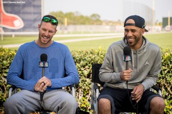 FT. MYERS, FL - FEBRUARY 18: Chris Sale #41 and David Price #24 of the Boston Red Sox are interviewed during a team workout on February 18, 2017 at Fenway South in Fort Myers, Florida . (Photo by Billie Weiss/Boston Red Sox/Getty Images) *** Local Caption *** Chris Sale; David Price