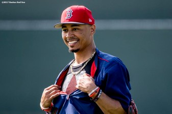 FT. MYERS, FL - FEBRUARY 18: Mookie Betts #50 of the Boston Red Sox reacts during a team workout on February 18, 2017 at Fenway South in Fort Myers, Florida . (Photo by Billie Weiss/Boston Red Sox/Getty Images) *** Local Caption *** Mookie Betts