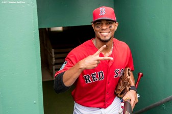 FT. MYERS, FL - FEBRUARY 23: Xander Bogaerts #2 of the Boston Red Sox gestures before a game against Northeastern University on February 23, 2017 at Fenway South in Fort Myers, Florida . (Photo by Billie Weiss/Boston Red Sox/Getty Images) *** Local Caption *** Xander Bogaerts