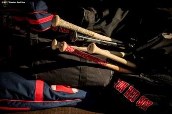 FT. MYERS, FL - FEBRUARY 26: Equipment is shown on the team bus before a Boston Red Sox spring training game against the Tampa Bay Rays on February 26, 2017 at Fenway South in Fort Myers, Florida . (Photo by Billie Weiss/Boston Red Sox/Getty Images) *** Local Caption ***