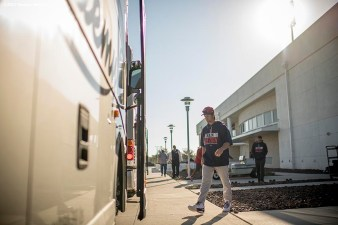 FT. MYERS, FL - FEBRUARY 26: Andrew Benintendi #16 of the Boston Red Sox boards the bus before a spring training game against the Tampa Bay Rays on February 26, 2017 at Fenway South in Fort Myers, Florida . (Photo by Billie Weiss/Boston Red Sox/Getty Images) *** Local Caption *** Andrew Benintendi