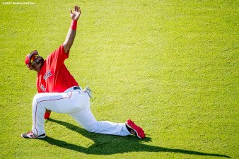 FT. MYERS, FL - FEBRUARY 27: Pablo Sandoval #48 of the Boston Red Sox stretches before a Spring Training game against the St. Louis Cardinals on February 27, 2017 at Fenway South in Fort Myers, Florida . (Photo by Billie Weiss/Boston Red Sox/Getty Images) *** Local Caption *** Pablo Sandoval