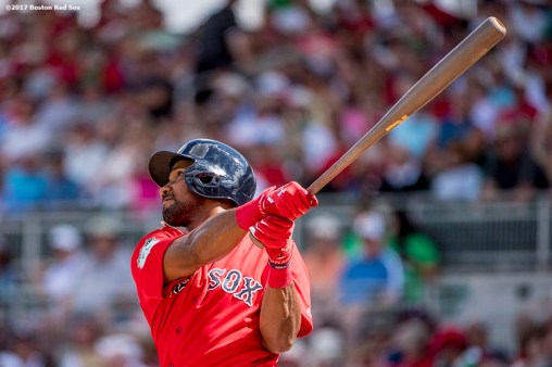 FT. MYERS, FL - FEBRUARY 27: Chris Young #30 of the Boston Red Sox hits a double during the fourth inning of a Spring Training game against the St. Louis Cardinals on February 27, 2017 at Fenway South in Fort Myers, Florida . (Photo by Billie Weiss/Boston Red Sox/Getty Images) *** Local Caption *** Chris Young