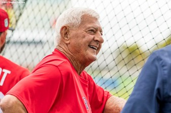 FT. MYERS, FL - MARCH 2: Former Boston Red Sox player Carl Yastrzemski reacts before a Spring Training game against the Tampa Bay Rays on March 2, 2017 at Fenway South in Fort Myers, Florida . (Photo by Billie Weiss/Boston Red Sox/Getty Images) *** Local Caption *** Carl Yastrzemski