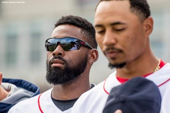 FT. MYERS, FL - MARCH 5: Jackie Bradley Jr. #19 of the Boston Red Sox looks on before a Spring Training game against the Atlanta Braves on March 5, 2017 at Fenway South in Fort Myers, Florida . (Photo by Billie Weiss/Boston Red Sox/Getty Images) *** Local Caption *** Jackie Bradley Jr.