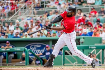 FT. MYERS, FL - MARCH 9: Jackie Bradley Jr. #19 of the Boston Red Sox hits a solo home run during the first inning of a Spring Training game against Team USA on March 9, 2017 at Fenway South in Fort Myers, Florida . (Photo by Billie Weiss/Boston Red Sox/Getty Images) *** Local Caption *** Jackie Bradley Jr.
