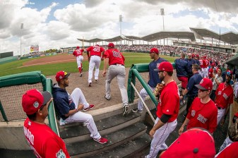FT. MYERS, FL - MARCH 9: Members of the Boston Red Sox run onto the field before a Spring Training game against Team USA on March 9, 2017 at Fenway South in Fort Myers, Florida . (Photo by Billie Weiss/Boston Red Sox/Getty Images) *** Local Caption ***