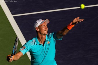Tomas Berdych in action against Bjorn Fratangelo at the Indian Wells Tennis Garden in Indian Wells, California on Saturday, March 11, 2017. (Photo by Billie Weiss/BNP Paribas Open)