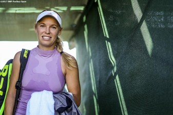 Caroline Wozniacki walks off the practice court during the 2017 BNP Paribas Open at the Indian Wells Tennis Garden in Indian Wells, California on Sunday, March 12, 2017. (Photo by Billie Weiss/BNP Paribas Open)