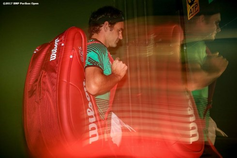 Roger Federer walks through the tunnel before a match against Stephane Robert during the 2017 BNP Paribas Open at the Indian Wells Tennis Garden in Indian Wells, California on Sunday, March 12, 2017. (Photo by Billie Weiss/BNP Paribas Open)