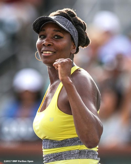 Venus Williams reacts after defeating Shuai Peng at the Indian Wells Tennis Garden in Indian Wells, California on Tuesday, March 14, 2017. (Photo by Billie Weiss/BNP Paribas Open)