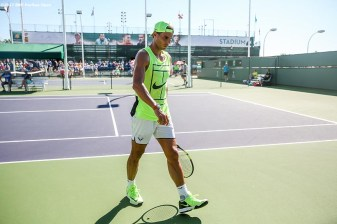 Rafael Nadal practices before a match at the Indian Wells Tennis Garden in Indian Wells, California on Tuesday, March 14, 2017. (Photo by Billie Weiss/BNP Paribas Open)