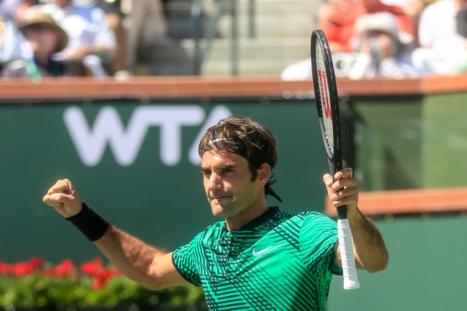 Roger Federer reacts after winning the men's semi-final against Jack Sock at the Indian Wells Tennis Garden in Indian Wells, California on Saturday, March 18, 2017. (Photo by Billie Weiss/BNP Paribas Open)