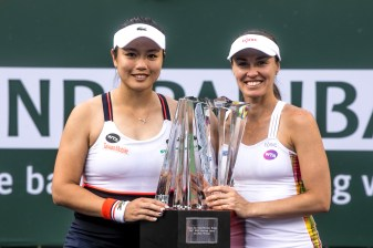 Trophy Presentation during the women's doubles final between Yung-Jan Chan and Martina Hingis and Lucie Hradecka and Katerina Siniakova at the Indian Wells Tennis Garden in Indian Wells, California on Saturday, March 18, 2017. (Photo by Billie Weiss/BNP Paribas Open)