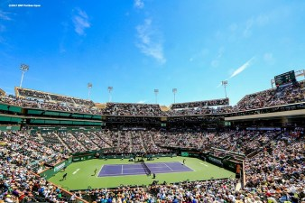 A general view of stadium one during the women's final between Svetlana Kuznetsova and Elena Vesnina at the Indian Wells Tennis Garden in Indian Wells, California on Sunday, March 19, 2017. (Photo by Billie Weiss/BNP Paribas Open)