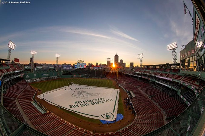 BOSTON, MA - APRIL 3: The sun rises over Fenway Park before the Boston Red Sox home opener against the Pittsburgh Pirates on April 3, 2017 at Fenway Park in Boston, Massachusetts . (Photo by Billie Weiss/Boston Red Sox/Getty Images) *** Local Caption ***
