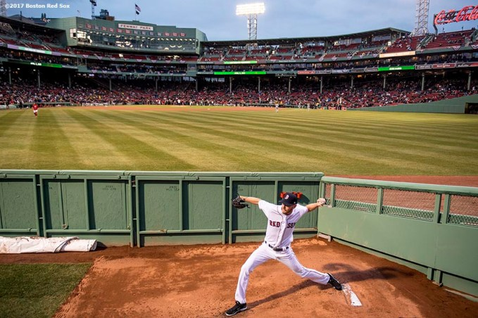 BOSTON, MA - APRIL 5: Chris Sale #41 of the Boston Red Sox warms up before making his debut as a member of the Boston Red Sox against the Pittsburgh Pirates on April 5, 2017 at Fenway Park in Boston, Massachusetts. (Photo by Billie Weiss/Boston Red Sox/Getty Images) *** Local Caption ***Chris Sale