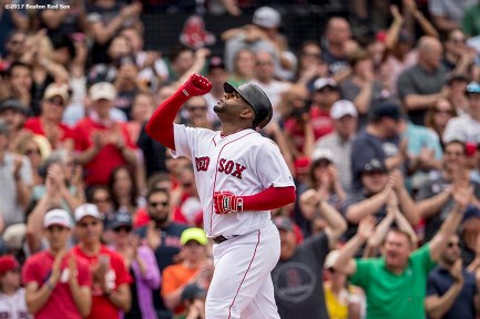 BOSTON, MA - APRIL 16: Pablo Sandoval #48 of the Boston Red Sox reacts after hitting a game tying two run home run during the fourth inning of a game against the Tampa Bay Rays on April 16, 2017 at Fenway Park in Boston, Massachusetts. (Photo by Billie Weiss/Boston Red Sox/Getty Images) *** Local Caption *** Pablo Sandoval