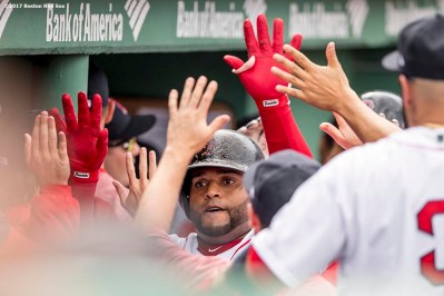BOSTON, MA - APRIL 16: Pablo Sandoval #48 of the Boston Red Sox high fives teammates after hitting a game tying two run home run during the fourth inning of a game against the Tampa Bay Rays on April 16, 2017 at Fenway Park in Boston, Massachusetts. (Photo by Billie Weiss/Boston Red Sox/Getty Images) *** Local Caption *** Pablo Sandoval